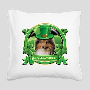 Happy St Patricks Day Sheltie Square Canvas Pillow
