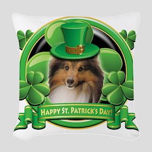 Happy St Patricks Day Sheltie Woven Throw Pillow