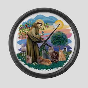 St Francis (ff) - Rev 2 - 4 cats Large Wall Clock