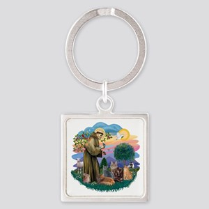 St Francis (ff) - Rev 2 - 4 cats Square Keychain