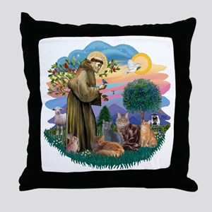 St Francis (ff) - Rev 2 - 4 cats Throw Pillow