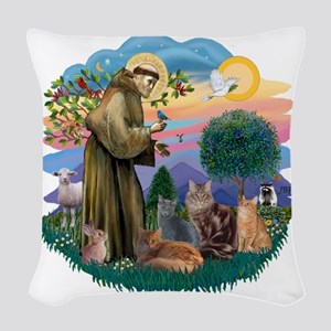 St Francis (ff) - Rev 2 - 4 ca Woven Throw Pillow