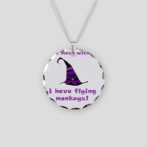 Flying Monkeys Purple Necklace Circle Charm