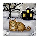 Orange Tabby Cat Snowy Day Tile Coaster