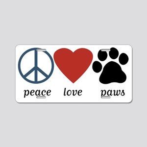 Peace Love Paws Aluminum License Plate
