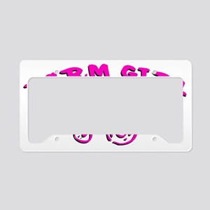 Pink Farm girl License Plate Holder