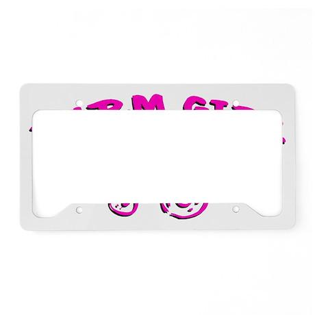 Pink Farm girl License Plate Holder