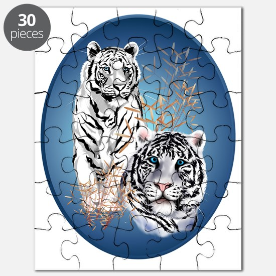 Two White Tigers Oval Trans Puzzle