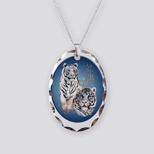 Two White Tigers Oval Trans Necklace Oval Charm