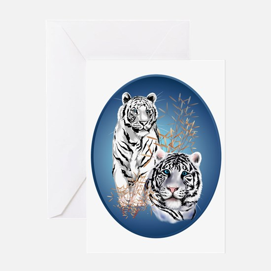 Two White Tigers Oval Trans Greeting Card