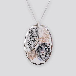 White Tigers Trans Necklace Oval Charm
