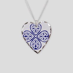 navy shamrock celtic knot Necklace Heart Charm