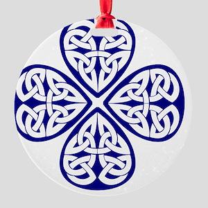navy shamrock celtic knot Round Ornament