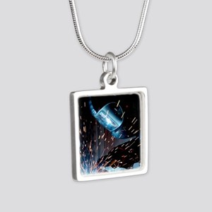 Welders Do It Hotter 50 in Silver Square Necklace