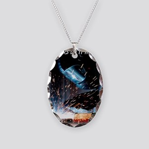 Welders Do It Hotter 50 inches Necklace Oval Charm