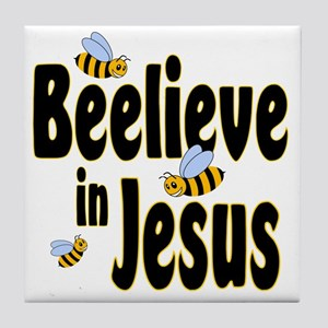 Beelieve in Jesus Black Tile Coaster
