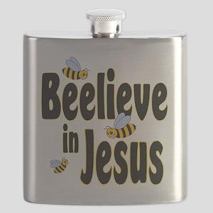 Beelieve in Jesus Black Flask