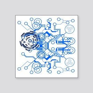 "lightblue circuitboard flow Square Sticker 3"" x 3"""