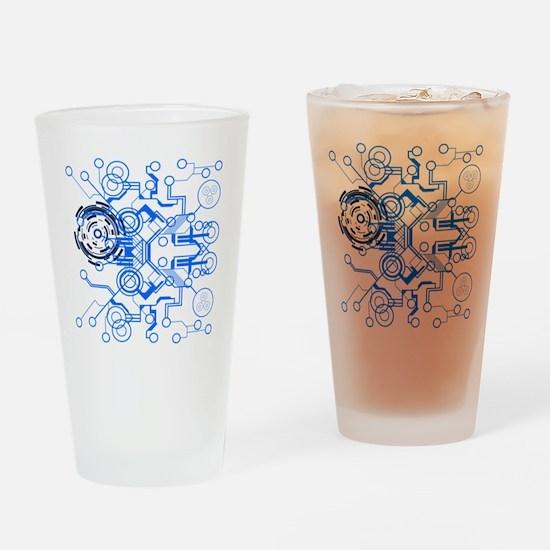 lightblue circuitboard flowchart Drinking Glass