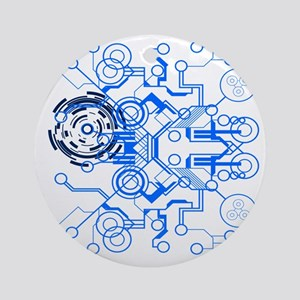 lightblue circuitboard flowchart Round Ornament