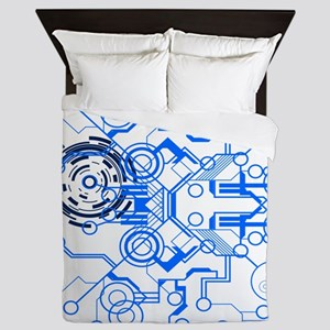 lightblue circuitboard flowchart Queen Duvet