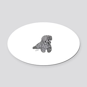 Poodle puppy Oval Car Magnet