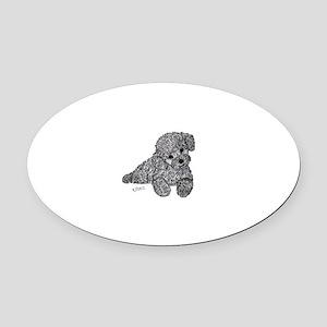 Poodle puppy Oval Car Magnet