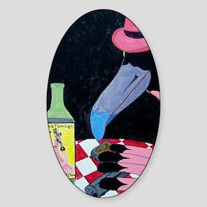 Drunk Flamingo Red Sticker (Oval)