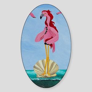 Flamingo Rising Sticker (Oval)