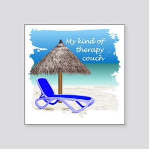 "Therapy Couch Square Sticker 3"" x 3"""