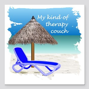 "Therapy Couch Square Car Magnet 3"" x 3"""