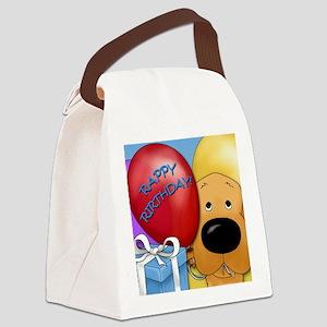 RedGoldenBDayCard Canvas Lunch Bag