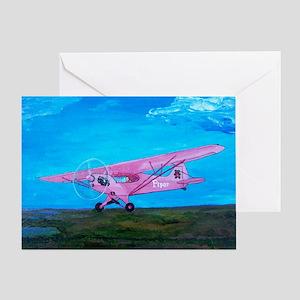 Pink Piper Cub Greeting Card