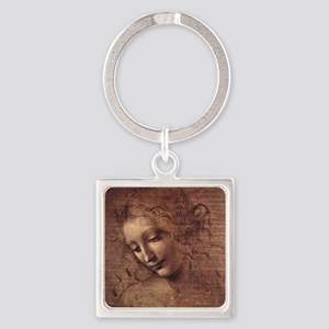 Female Head Square Keychain