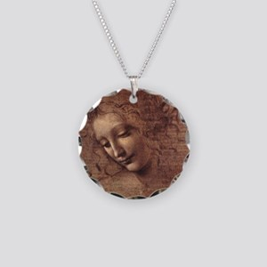 Female Head Necklace Circle Charm