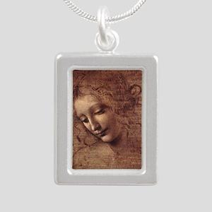 Female Head Silver Portrait Necklace