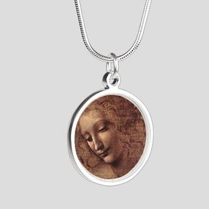Female Head Silver Round Necklace