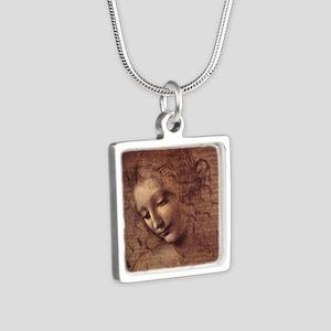 Female Head Silver Square Necklace