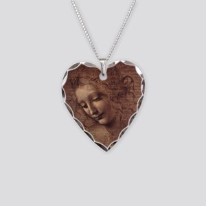 Female Head Necklace Heart Charm