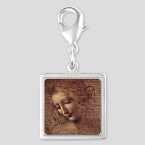 Female Head Silver Square Charm