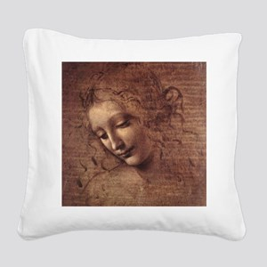 Female Head Square Canvas Pillow
