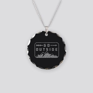 Go Outside Necklace Circle Charm