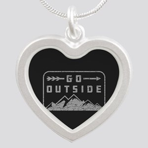 Go Outside Silver Heart Necklace