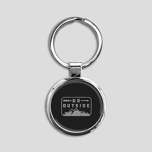 Go Outside Round Keychain