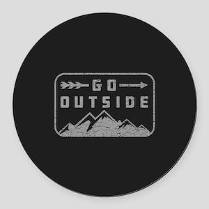 Go Outside Round Car Magnet