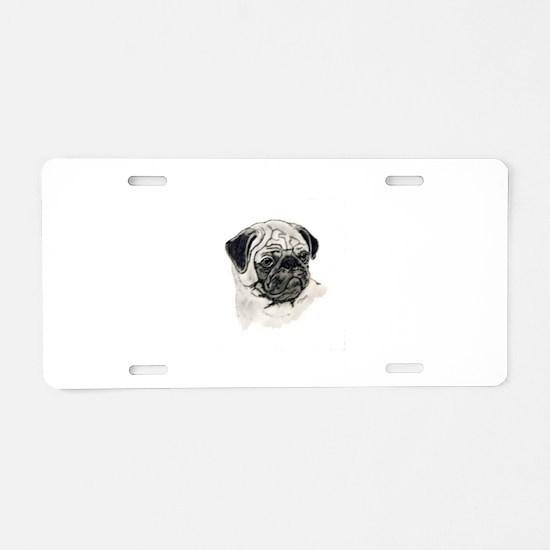 Pug head Aluminum License Plate