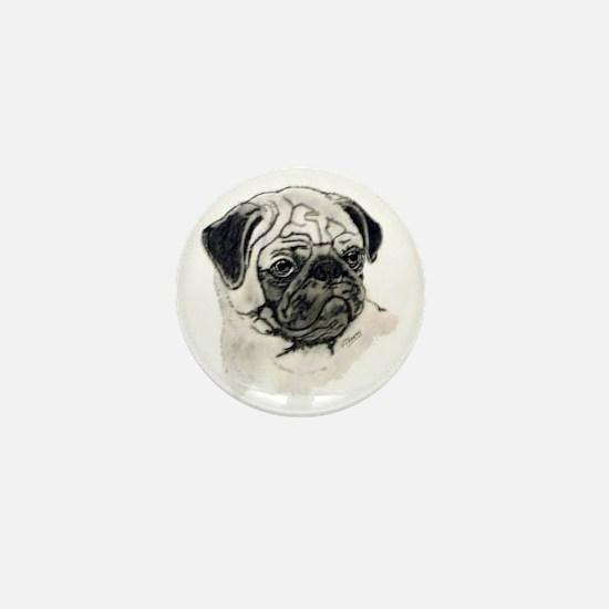 Pug head Mini Button