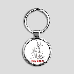 Hey Babe Round Keychain