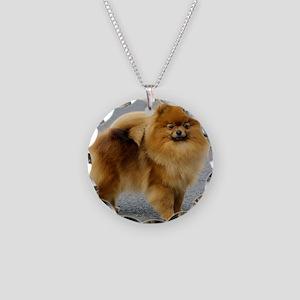 Pomeranian 9R042D-22 Necklace Circle Charm