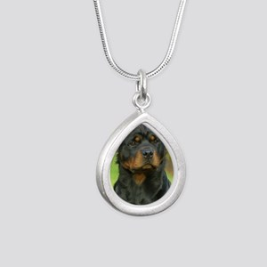 Rottweiler 9W044D-073 Silver Teardrop Necklace